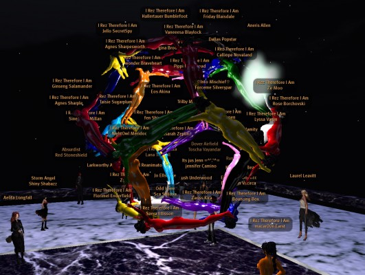 Avatars form a human dodecahedron a kilometer above the Booville skydiving sim.