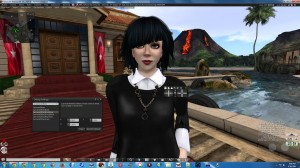 """Vanessa Blaylock in front of Governor's Mansion in Turkey. On screen displays show SL """"Debug"""" settings for adjusting Camera Offset and Focus Offset."""