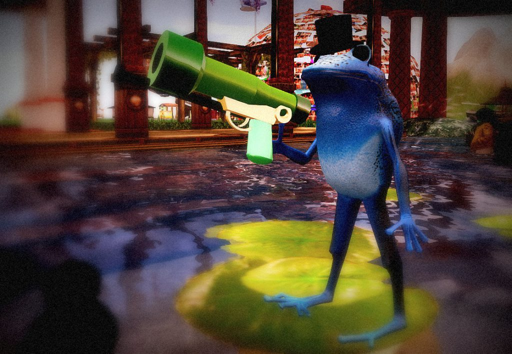 Avatar Alphabet: F is for Frog Fight! Photo of a blue frog holding a gun that shoots green frogs.