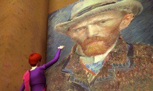 """""""J is for Joe Rigby."""" Vanessa Blaylock's avatar waving at a self-portrait of Vincent van Gogh in the Avaya Live art gallery"""
