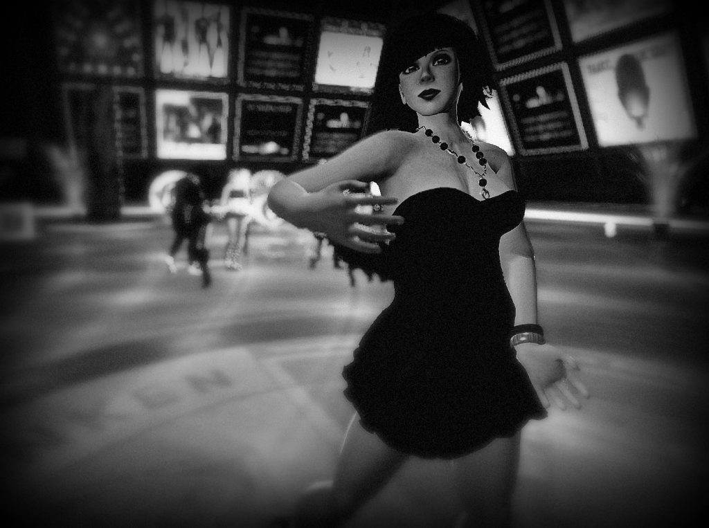"High-contrast black-and-white photograph of Vanessa Blaylock dancing in a ""Little Black Dress"" (LBD) at Dance Island."