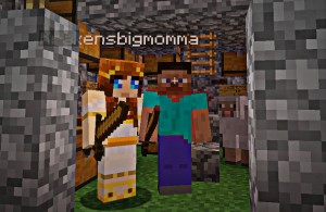 Wendz Tempest & Vanessa Blaylock as Minecraft avatars. They are holding swords and hiding from monsters.