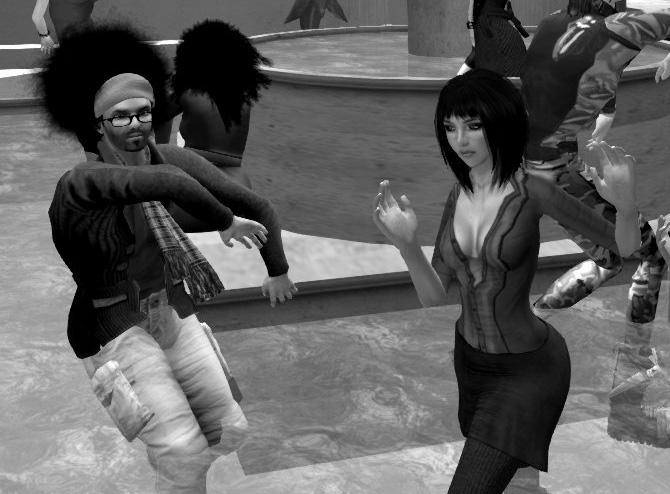 Avatar Alphabet: R is for Rabalder: B&W photo of Rabalder & Monerda dancing in the fountain at Trafalgar Square, London