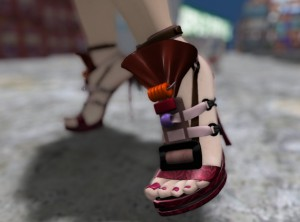 Closeup photo of Vanessa Blaylock's feet in high-heeled shoes