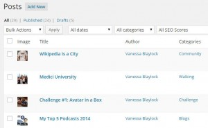 My Top 10 WordPress Plugins 2014: ScreenCap of the WordPress Post Listing showing the Featured Image Column