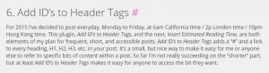 "Screencap of Vanessa Blaylock.com showing a Hashtag next to an H2 heading, courtesy of ""Add ID's to Header Tags"""