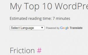 screen cap of WordPress plugin Insert Estimated Reading Time