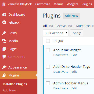 screencap of WordPress backend showing a listing of installed Plugins