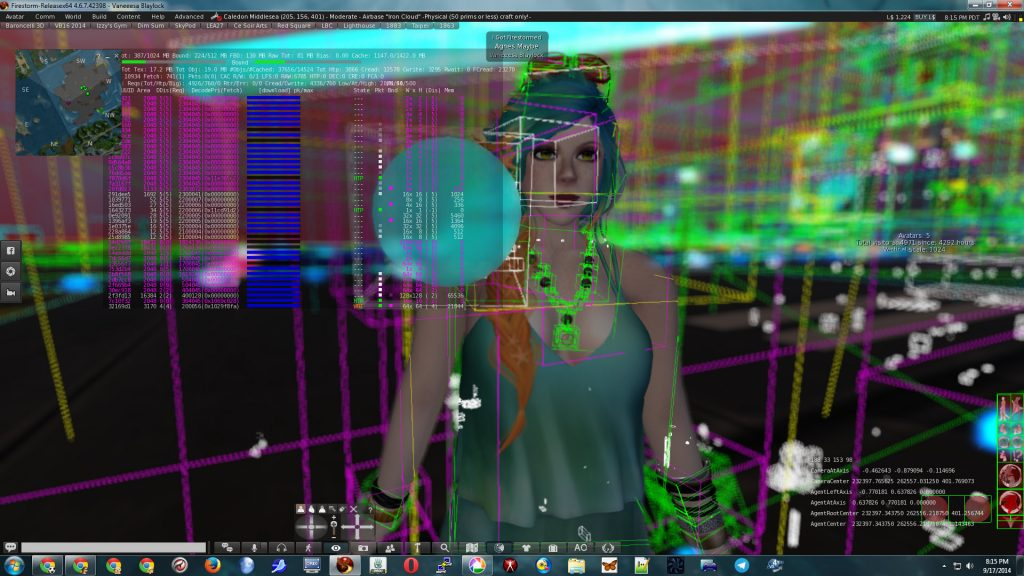 Photo of Vanessa Blaylock surrounded by 3D rendering Bounding Boxes and with date of raster registers superimposed over the scene