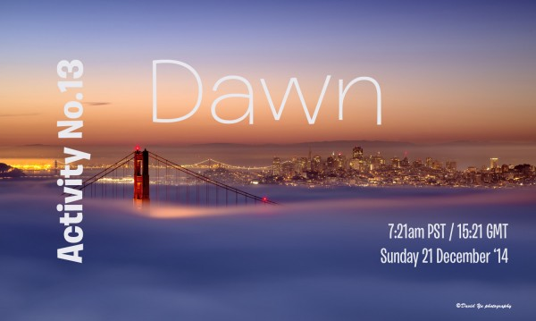 Activity No.13 - Dawn. Image of a fog shrouded Golden Gate Bridge with an orange glow in the distance and dawn on the horizon