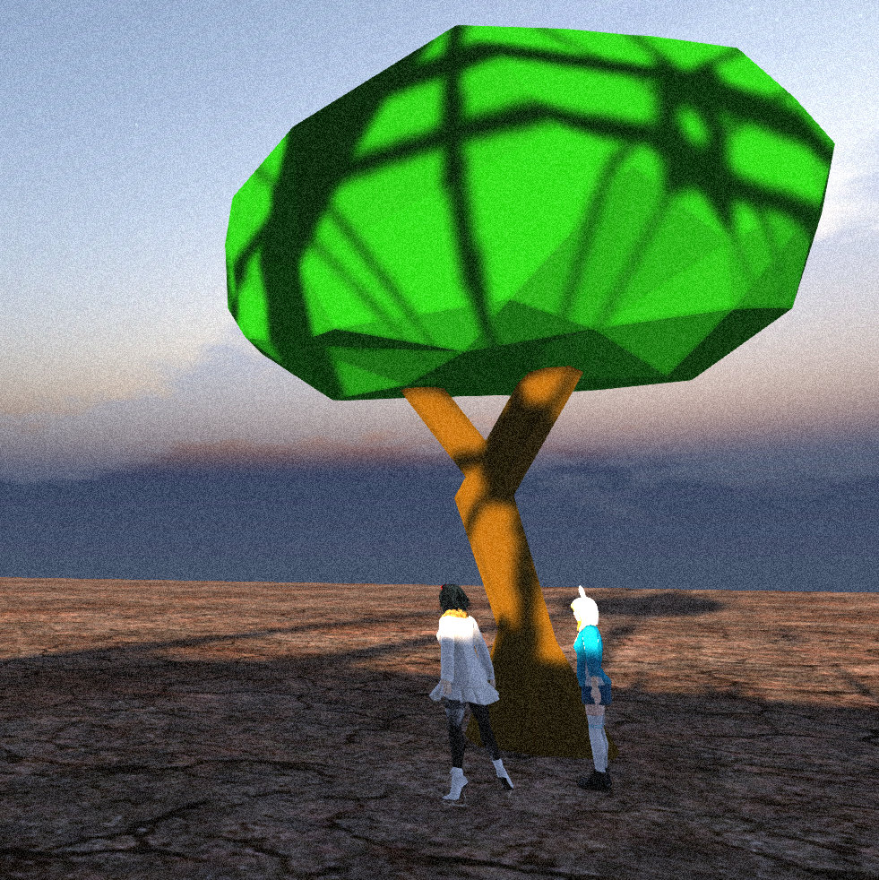 """Vanessa Blaylock and Desu admire one of Desu's """"Low Poly"""" trees (a tree made of very few polygons, rendering it less """"lifelike"""" and more """"cartoonish"""" or abstract or geometric. Tree made in Blender and imported to Second Life.)"""