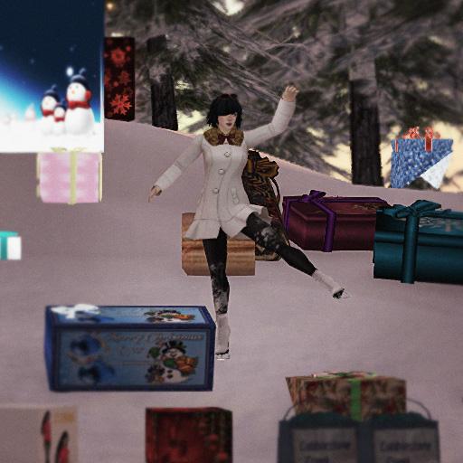 Vanessa Blaylock ice skates through a field of presents