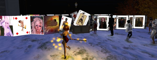 A dozen avatars on a terrace looking at the new Avatar Selfie Card Deck