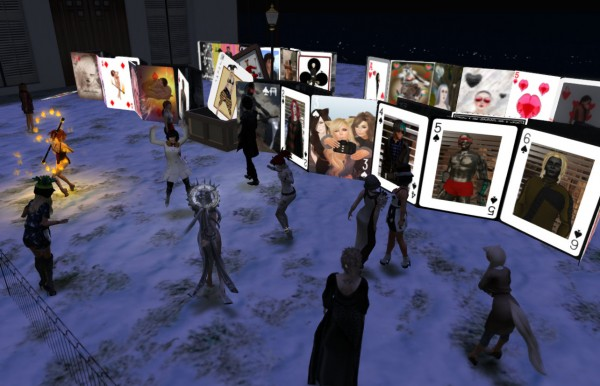 about a dozen avatars on a terrace looking at 55 giant playing cards