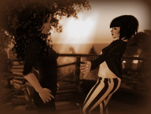 photo of Ama Ree and Vanessa Blaylock in Crap Mariner's Treehouse in the virtual world Second Life. Monochromatic Image. Sepia Toned