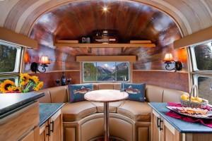 Interior view of Fiona Blaylock's Airstream luxury recreational vehicle