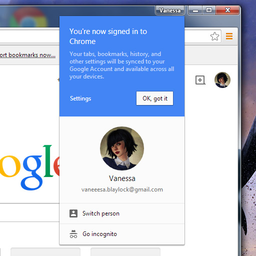 screen cap of Google Chrome v39