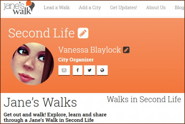 """Jane's Walk 2015: screen cap of Second Life """"city"""" page on Jane's Walk.org"""