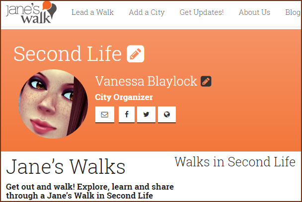 """Jane's Walk SL 2015: screen cap of Second Life """"city"""" page on Jane's Walk.org"""