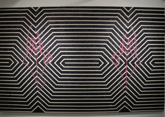 Micol Hebron's vulva drawing project: geometric abstraction in black and white stripes with vulva drawings on top