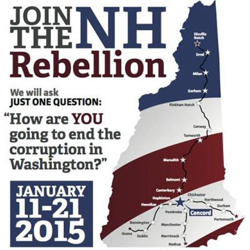 "New Hampshire Rebellion Logo: graphic of the shape of the state of New Hampshire made out of red, white, and blue, and with the text ""Join the Rebellion"""