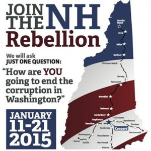 """NH Rebellion VR: New Hampshire Rebellion Logo: graphic of the shape of the state of New Hampshire made out of red, white, and blue, and with the text """"Join the Rebellion"""""""
