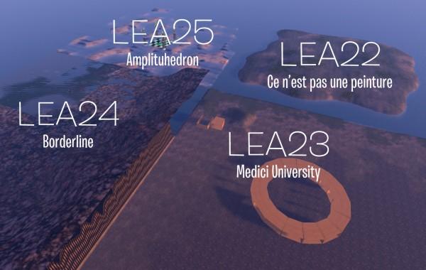 Aerial view of the 4 regions, LEA22, LEA23, LEA24, LEA25 in the virtual world Second LIfe.