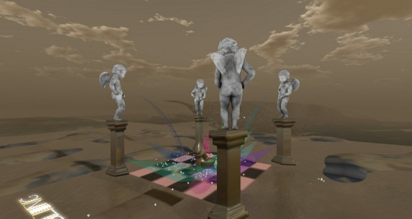 Columns, sculptures, and fountains at the middle of the LEA25 region in Second Life