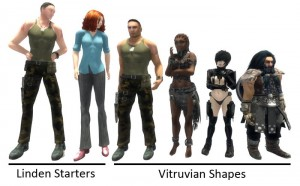 "Penny Patton: Comparison chart of Linden Labs ""Starter Avatars"" and Penny Patton's ""Vitruvian Shapes"""