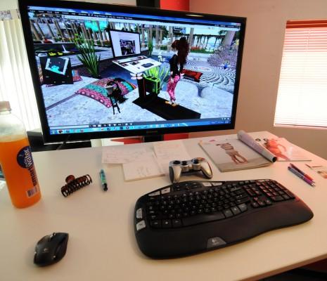 Building a treadmill desk: photo of Vanessa Blaylock's treadmill desk featuring  a 116cm Samsung Monitor