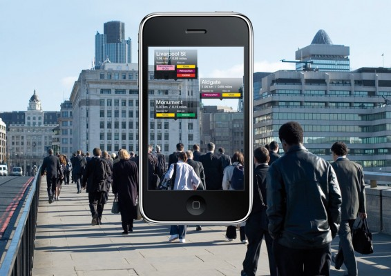 """University Guiding Principles: Image showing the iPhone """"Across Air App"""" featuring pedestrians on a city street and that same image on an iPhone screen with annotations and wayfinding information."""