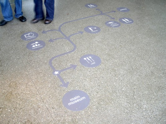 University Guiding Principles: photo of a wayfinding aid / map embedded in the walking spaces of an institution