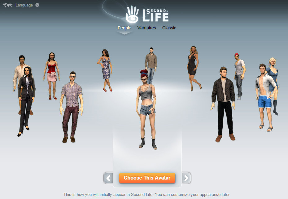 screen cap of Second Life sign up page showing a choice of avatars