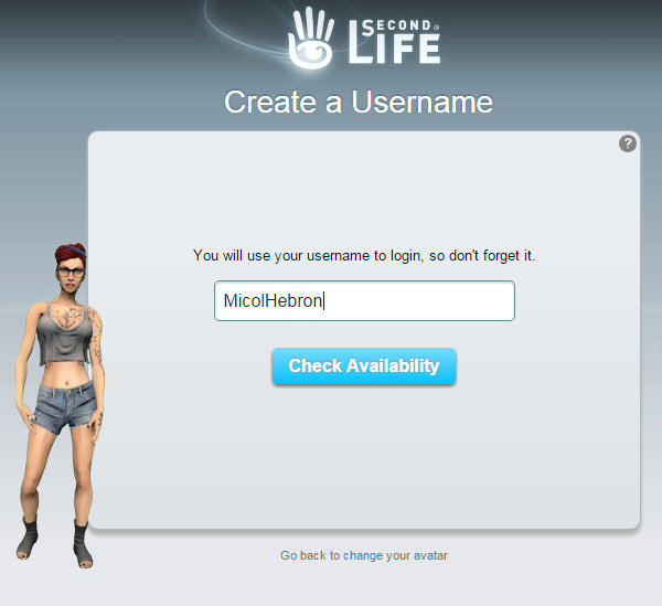 "Screen cap of Second Life sign up page showing ""Create a Username"""