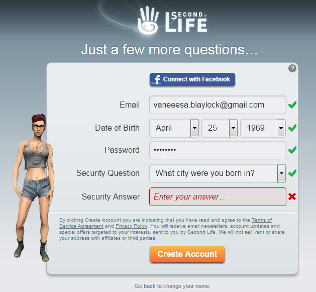 Screen cap of Second Life sign up page showing  email, date of birth, etc