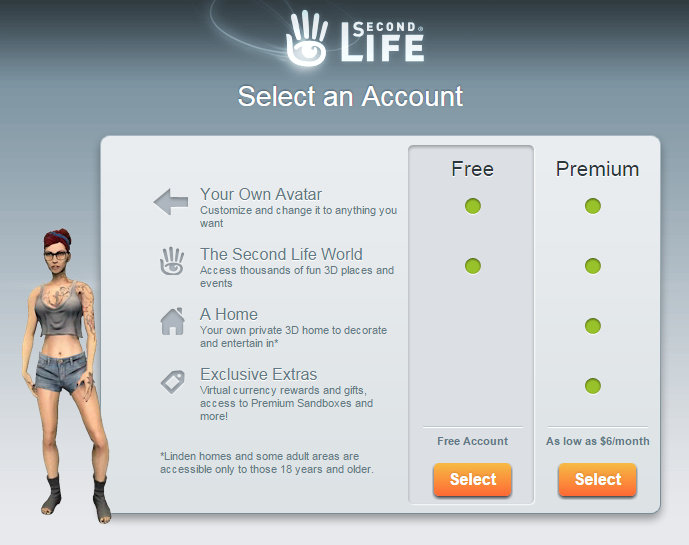 screen cap of second life signup page showing free and premium options