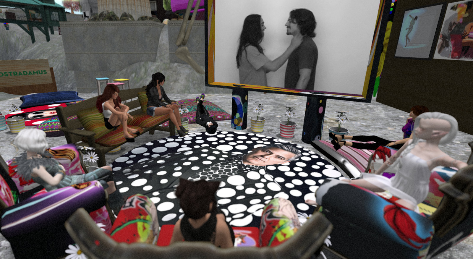 Avatars gathered around a large flat-screen TV and watching art videos from Micol Hebron