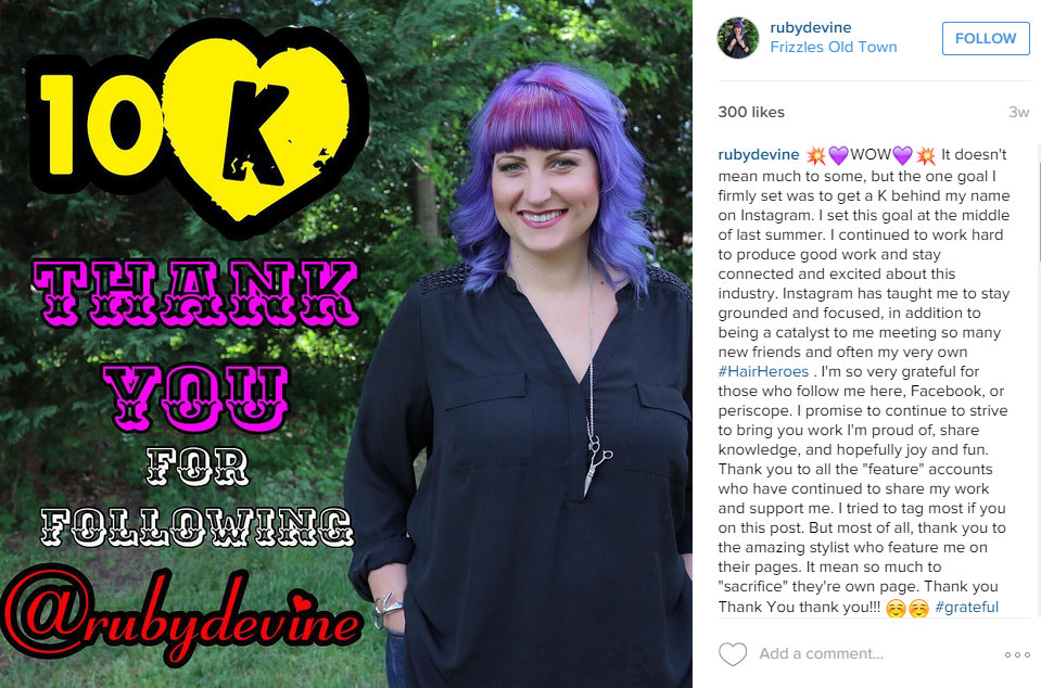 Instagram Screen Cap of Ruby Devine celebrating 10,000 followers