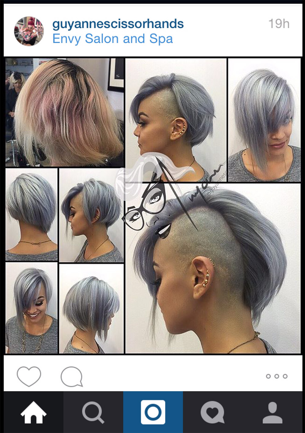 Screen cap of Guyanne Scissorhands' Instagram showing a series of photos of a client with hair dyed silver and cut in a dramatic, asymmetric, angular undercut