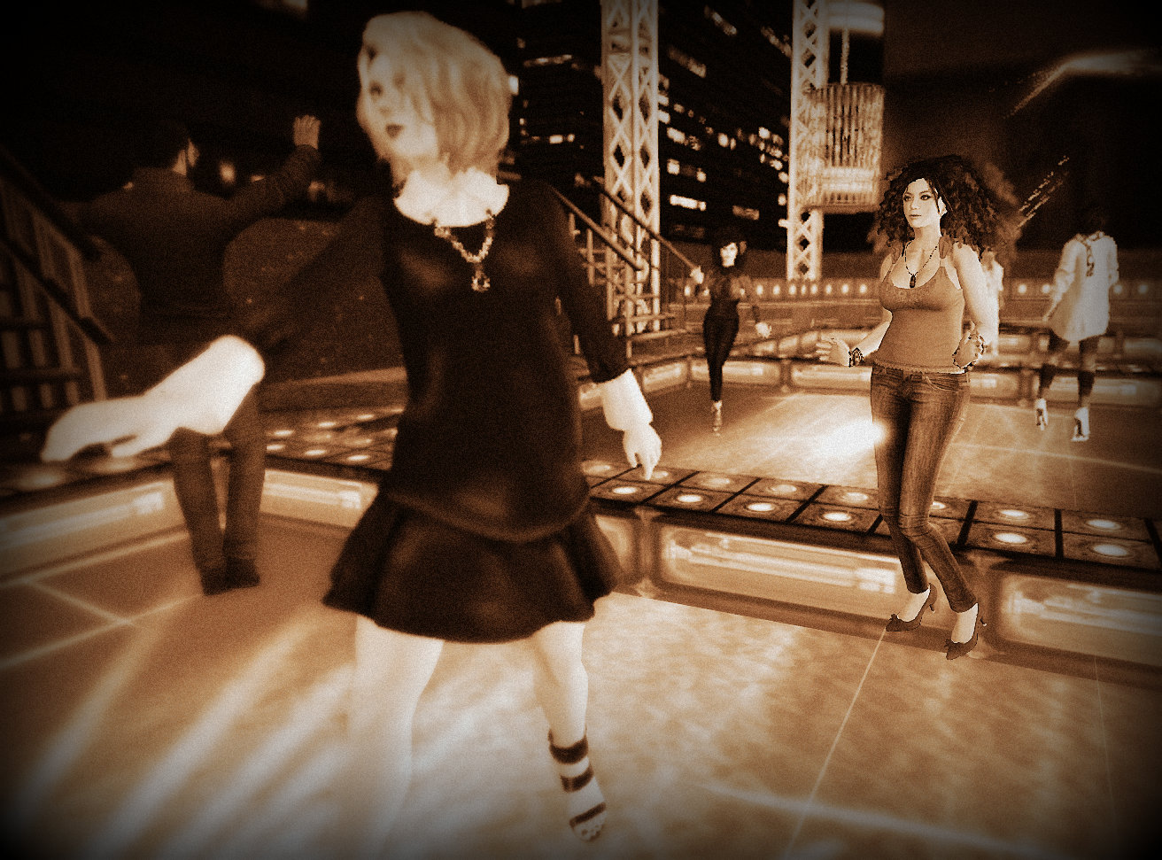 selenium-toned photo of Vanessa Blaylock and Agnes Sharple dancing at a club