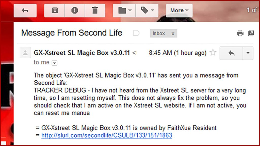 "screen capture of an email message showing a Second Life ""Magic Box"" asking for connection"