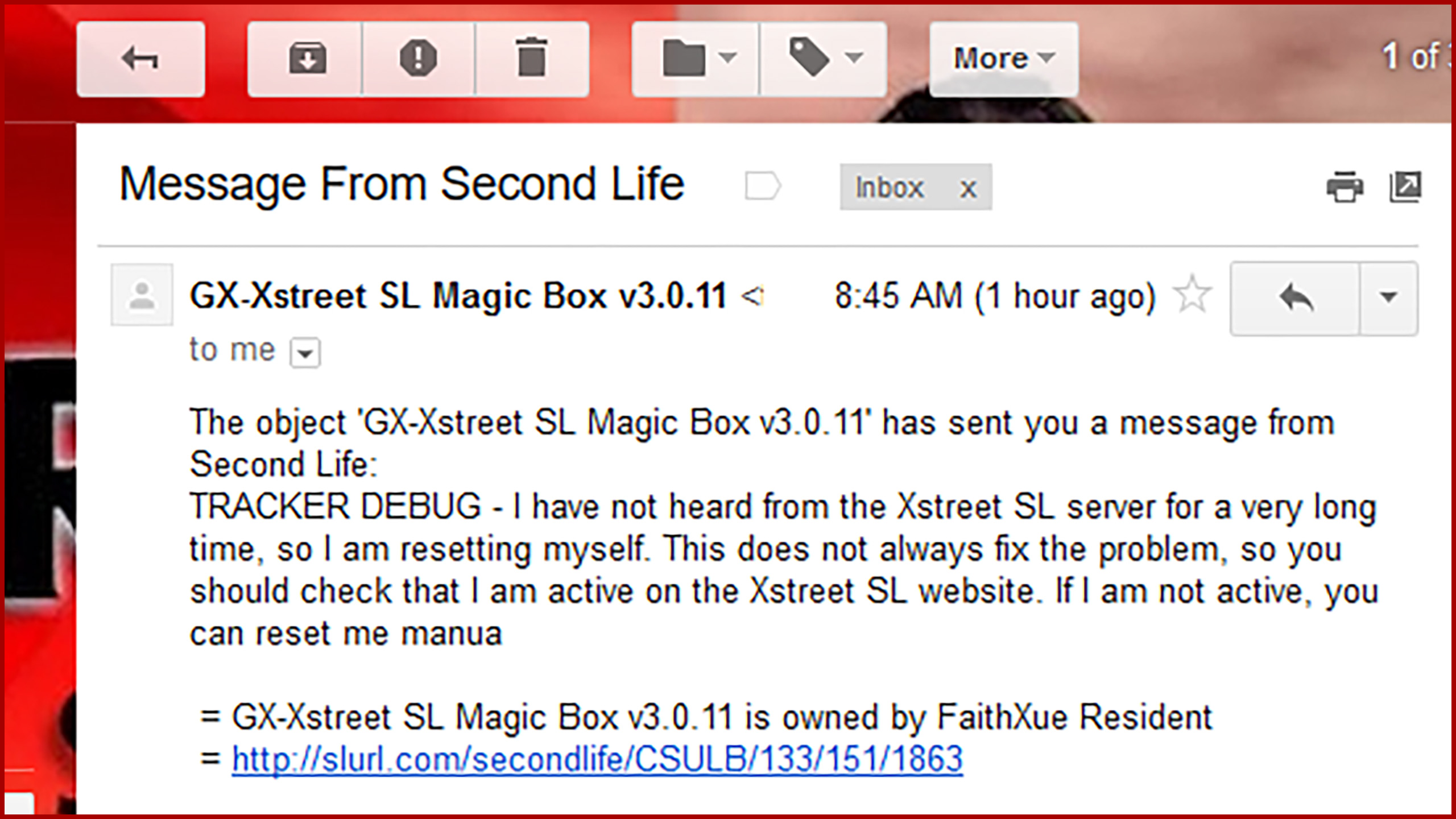 """screen capture of an email message showing a Second Life """"Magic Box"""" asking for connection"""