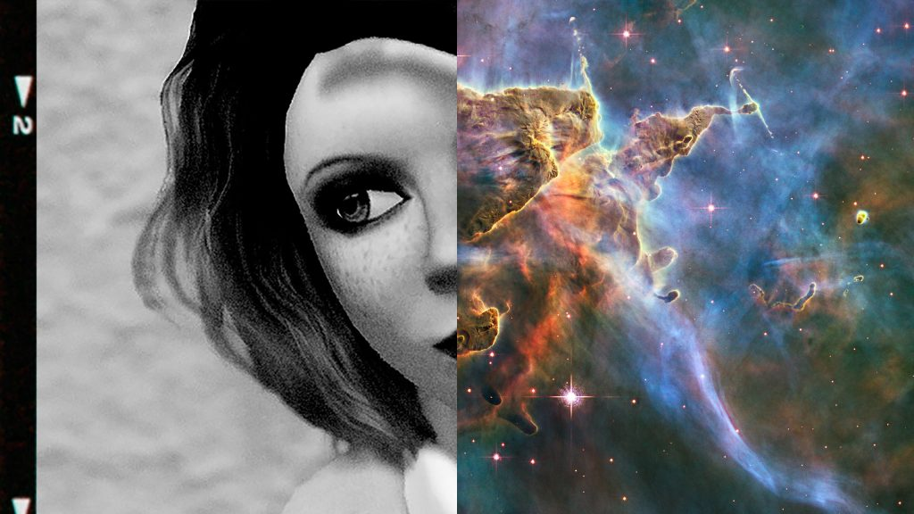 diptych juxtaposing headshot of Vanessa Blaylock and nebula image from the Hubble Space Telescope