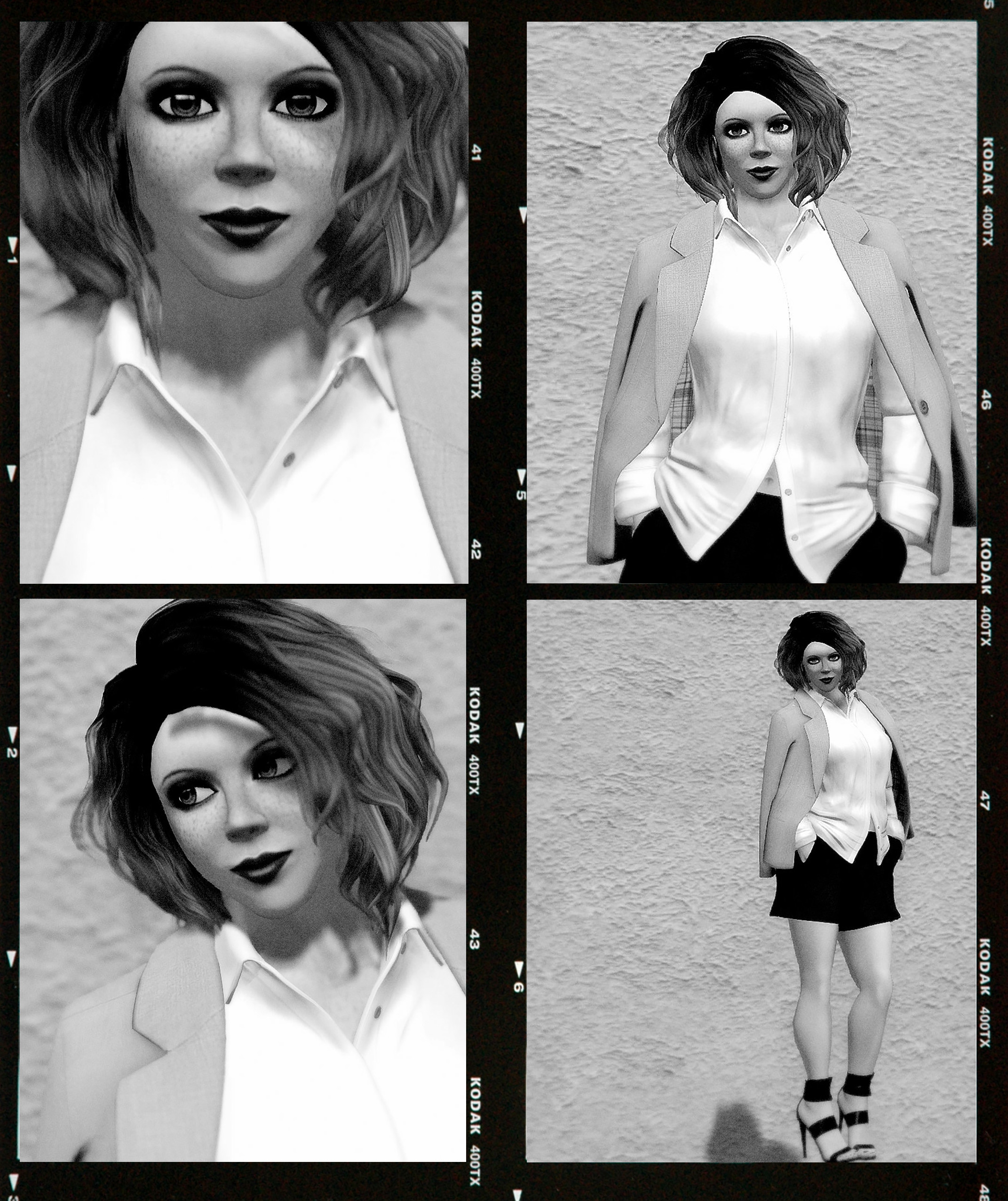 Contact sheet of 4 B&W frames, portraits of Vanessa Blaylock on Kodak TMax 400