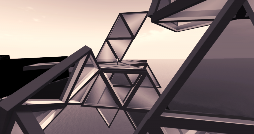 A hypertetrahedron in space above the Medici University College of Avatar Architecture & Virtual Urban Planning at LEA1 in the virtual world of Second Life