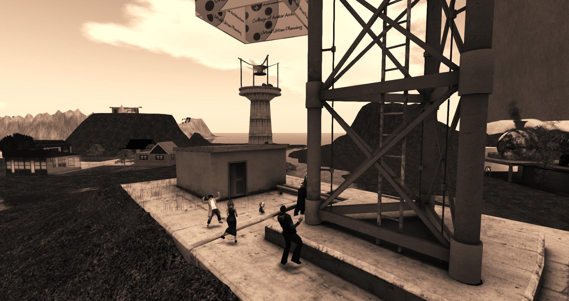 avatars dancing at a radio tower