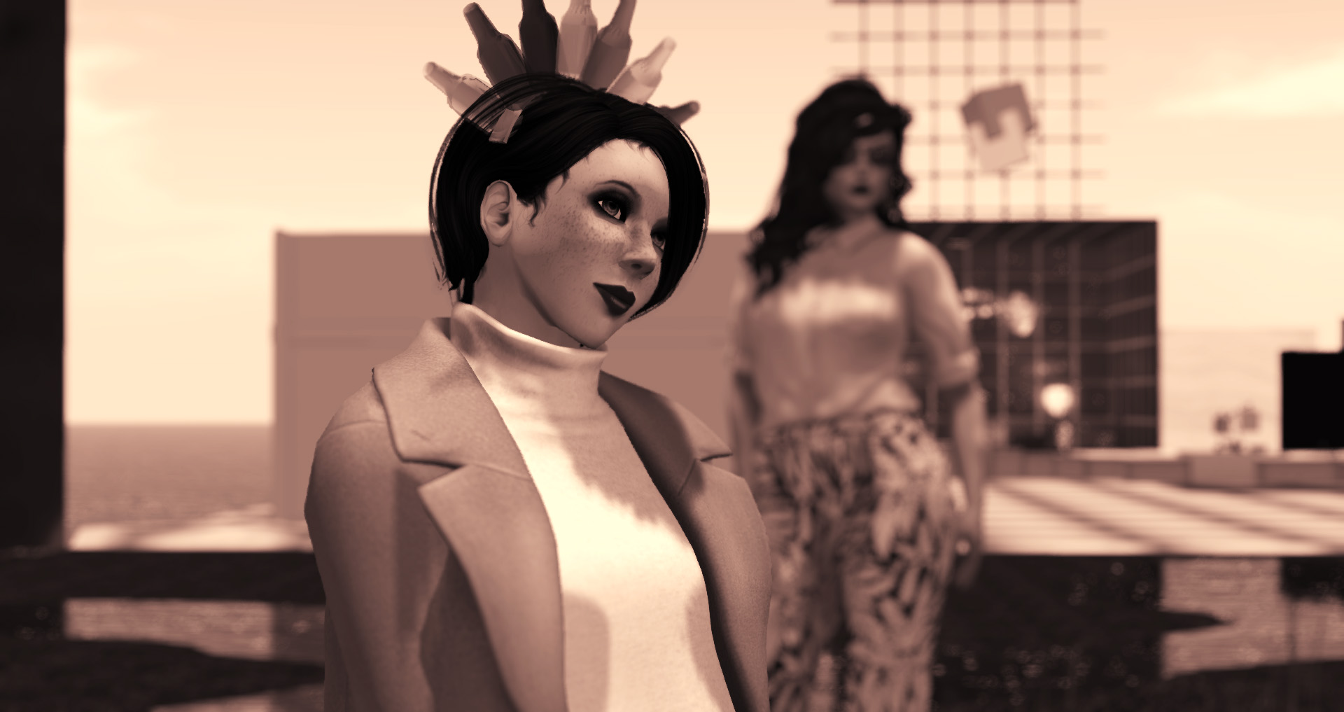 Photo of Vanessa Blaylock & Agnes Sharple at the College of Avatar Architecture at LEA1 in Second Life
