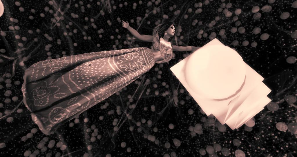 selenium-toned photograph of Asmita Duranjaya flying through a dark world densely filled with energetic orbs