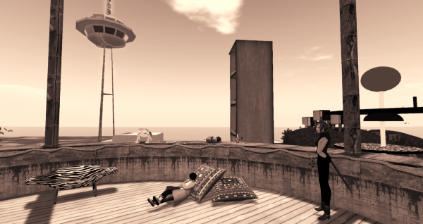 Elizabeth Taylor Swift relaxing on the deck of a wooden lighthouse