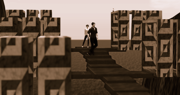 2 avatars on a staircase in a mountain gorge